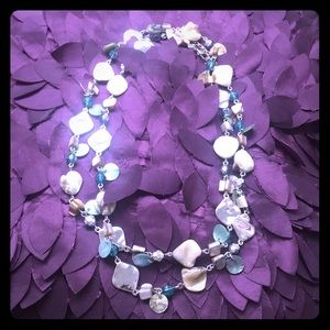Fabulous LONG mother-of-pearl and beaded necklace